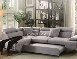 Sectional Sofa Sleeper Q/Gray Fabric //// Financing Available for Sale in Fort Lauderdale,  FL
