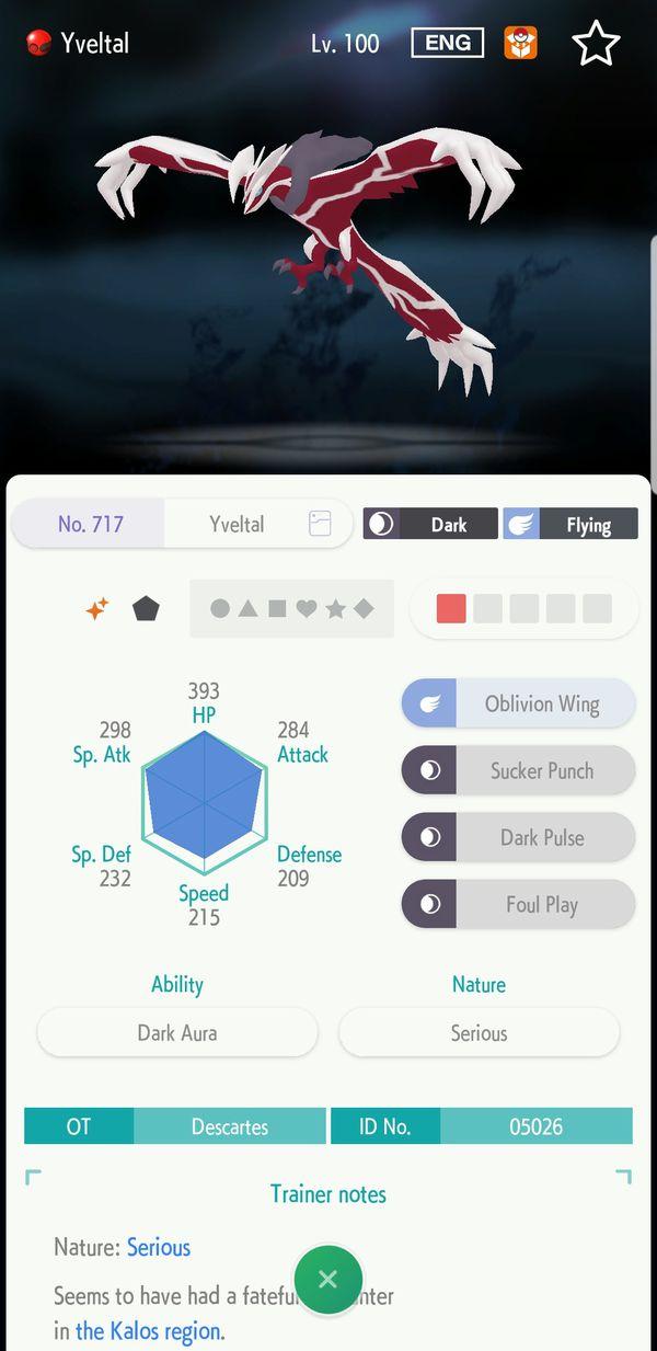 Shiny Event Pokemon Yveltal