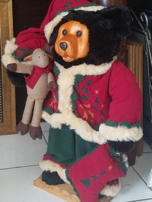 $40.00 - Christmas Bear with Spectacular Carved Face, Winter Outfit/ Approx 3 Feet Tall! for Sale in Miami, FL