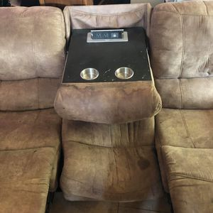 Worn couch. 2 outlets and 2 usb ports in middle section for Sale in Woodland Park, CO