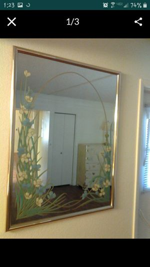 """Large framed decorative mirror titled """"Blue Daisy"""". for Sale in Mesa, AZ"""