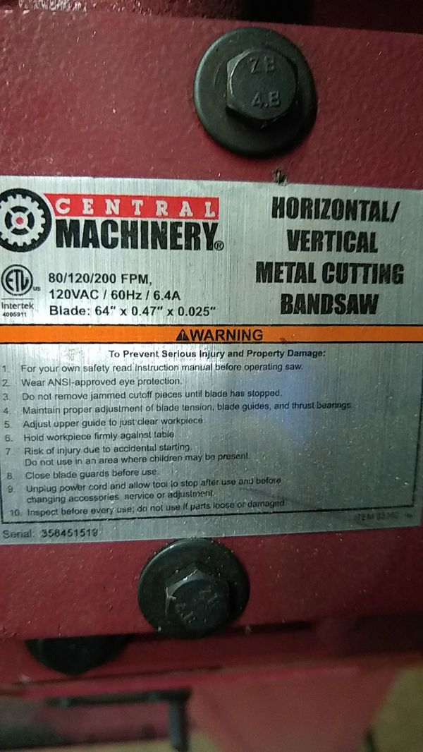 Harbor freight metal cutting band saw.