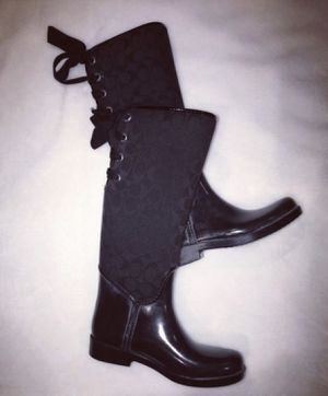 Women's Black COACH Rain Boots, Size 7 for Sale in Downers Grove, IL