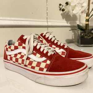Red Checkered Vans , Little Dirty But Easy To Clean Size 8 Women's for Sale in Miami, FL