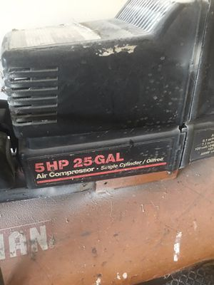 Air compressor 5HP 25 gallon selling today!! Works great for Sale in Houston, TX