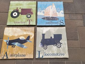 "4 wood shabby chic 16"" sq wall art. Airplane,train,sailboat,tractor. Wired for hanging. Pottery barn for Sale in Laguna Hills, CA"