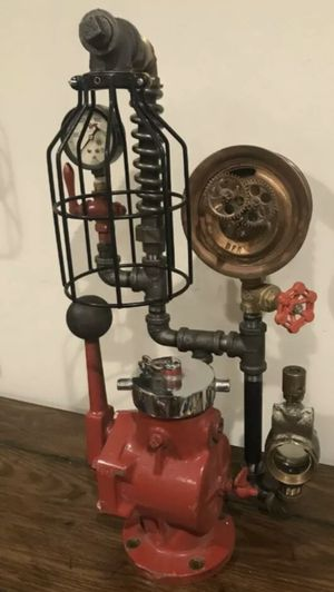 Steampunk Lamp/Sculpture, Frame Gauges Valve Oilers Rustic Industrial Antique Vtg for Sale in Richmond, VA