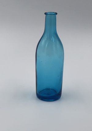 Vintage Japanese Blue Glass Cork Bottle with Makers Mark for Sale in San Angelo, TX