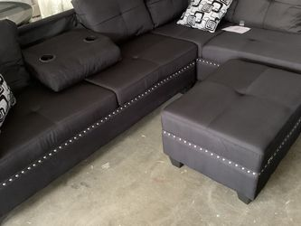 mirco Fabric Sectional With Ottoman for Sale in Norcross,  GA