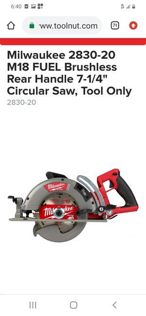 "Milwaukee fuel brushless 7-1/4"" circular saw ( tool only for Sale in San Jose, CA"