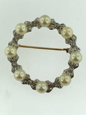 Antique Art Deco Vintage Diamond Pearl Circle Brooch Pin 14K Yellow Gold Estate for Sale in Miami, FL