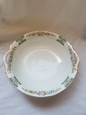 "Antique nippon Japan fine porcelain china. Gold rim green & poppy flowers 9.5"" vegetable bowl with handles for Sale in Chandler, AZ"
