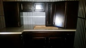 Dark brown wooden Cabinets with hutch for Sale in Atlanta, GA