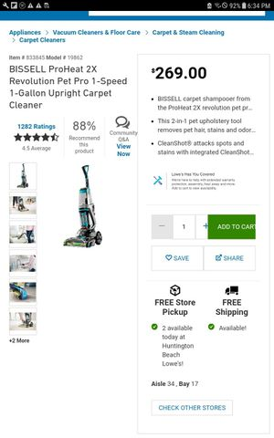BISSELL ProHeat 2X Revolution Pet Pro 1-Speed 1-Gallon Upright Carpet Cleaner for Sale in Costa Mesa, CA