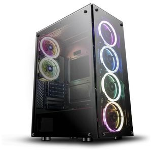 darkFlash Phantom Black ATX Mid-Tower Desktop Computer Gaming Case USB 3.0 Ports Tempered Glass Windows with 6pcs 120mm LED DR12 RGB Fans Pre-Installe for Sale in The Bronx, NY