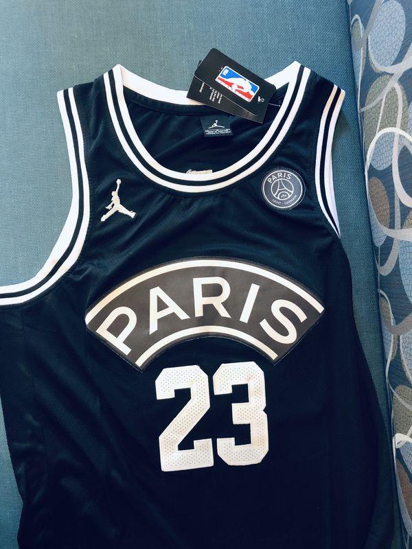 27c8d40b72e809 Men s Jordan PSG Flight Knit  23 Basketball Jersey Paris Saint ...