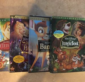 4 Disney Platinum Edition (dual disk) DVDs (Peter Pan, Sleeping Beauty, Bambi, Jungle Book) for Sale in Hollywood, FL
