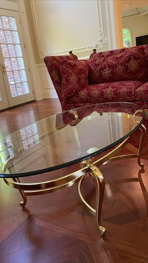 Ethan Allen solid brass glass coffee table for Sale in Saddle River, NJ