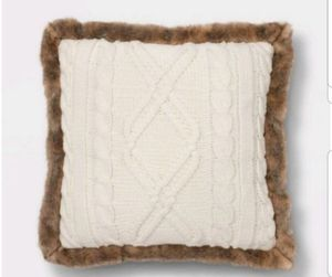 Acrylic Cable Knit with Faux Mink Reverse & Faux Fur Trim Square Throw Pillows White Set of 2 - Threshold for Sale in Long Beach, CA