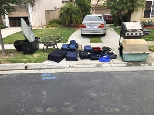 Free. Everything free. Must take large plastic tubs with Papasan, must take dog house with bbq which works. If you take everything I will hold for 1 for Sale in Chula Vista, CA