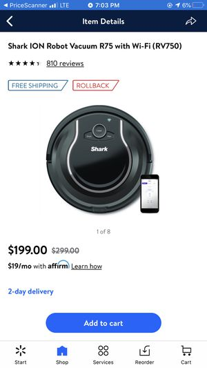Shark ion robot vacuum cleaner R 75 wi f i. RV750 for Sale in Baltimore, MD
