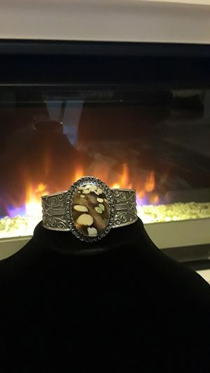 925 stamped cuff with rare gemstone for Sale in Gibsonton, FL