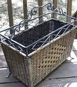Vintage Mid Century Modern MCM Wicker Rattan And Iron Magazine Rack Holder Organizer for Sale in Chapel Hill,  NC