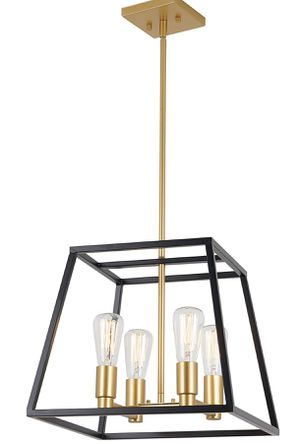 Artika CAR15-ON Carter Square 4 Pendant Light Fixture, Kitchen Island Chandelier, with a Steel Black and Gold Finish for Sale in Pompano Beach, FL