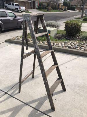 Vintage antique 4 foot folding A-frame painter wood step ladder for Sale in Modesto, CA