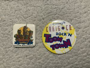 2- NEW Disney Walt Disney Imagineering Dated: January 26, 1993 Mickeys Toon Town Button AND Disney's Craig N Co. Rock'N ToonTown Button for Sale in Henderson, NV