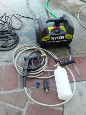 Ryobi electric 1600 pressure washer with spray gun , hose and soap foam cannon for Sale in Garden Grove, CA