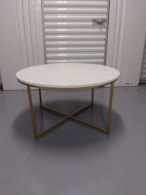 """Gold X-Base Faux Marble Round Coffee Table 36""""W x 36""""D x 19""""H for Sale in Fort Lauderdale, FL"""