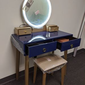 Makeup Vanity Table Set 3 Color Lighted Mirror Navy Blue And Gold for Sale in Fontana, CA