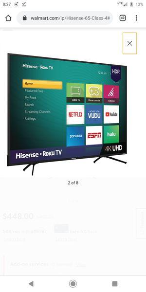 "Hisense 65"" Class 4K Ultra HD (2160P) HDR Roku Smart LED TV (65R6E1) for Sale in Sunnyvale, CA"