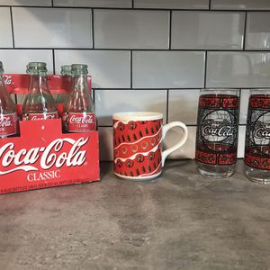 Vintage Coca-Cola Set of Bottles, Glasses, and Mug for Sale in Cleveland, OH