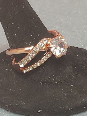 Brand new womens Rose Gold over 925 sterling silver genuine white sapphire engagement ring or promise ring several sizes available for Sale in Holiday, FL