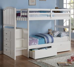 Bunk bed white twin over twin w/ storage & drawers for Sale in San Diego, CA