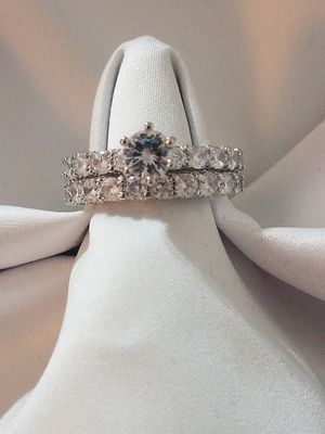 Beautiful White Sapphire Wedding & Engagement Ring Set (925 Silver) Size:9 Read Description for Sale in Cleveland, OH