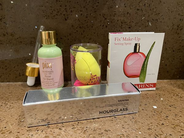 Makeup and Skincare Products from Pixi, Beauty Blender, Clarins, Hourglass