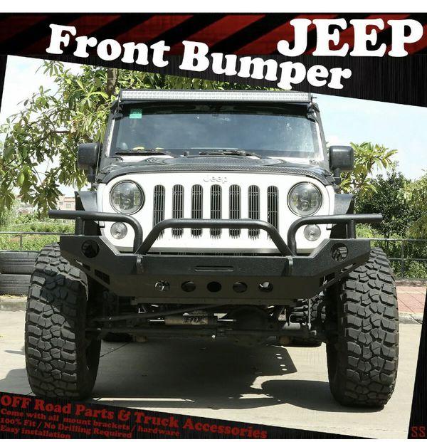 For 2007-2018 Jeep Wrangler JK ROCK CRAWLER Black Front Bumper W/Winch Plate