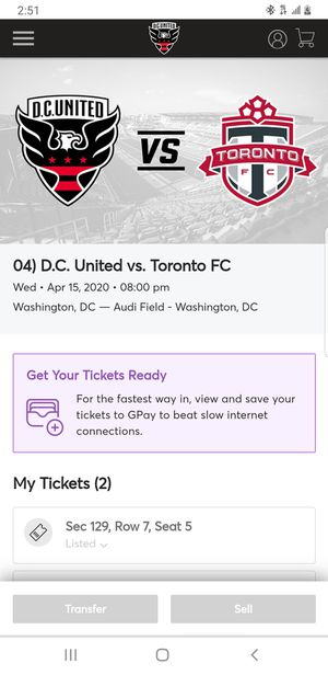 DC United soccer tickets for Sale in Oxon Hill, MD