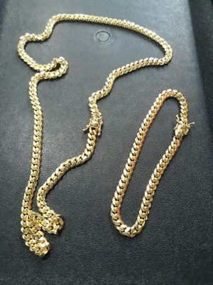 14k gold over silver 6mm Miami Cuban link chain and bracelet set .... for Sale in Hollywood, FL