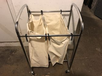Laundry hamper with industrial locking wheels for Sale in New York,  NY
