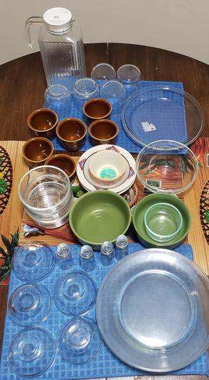 Pyex serving bowls, baking dish, glass Dinner set, ceramic serving bowls & tea cups, Glass Jug with immersion for Sale in Rockville, MD