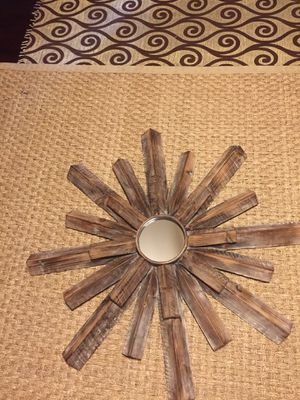 All wood pieces Sunburst wall mirror for Sale in Tacoma, WA