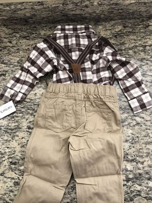 NWT 18 month baby shirt onesie and khaki suspender set for Sale in Baltimore, MD