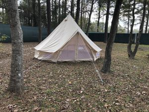 Like New 100% Canvas Bell Tent Camping 4 Meter with 2 Wood Stove Jacks Hunting Off Grid Homestead for Sale in Houston, TX