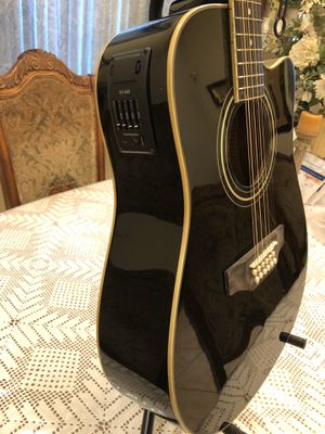 De Rosa 12 string electric acoustic guitar with soft case strap and cable for Sale in South Gate, CA