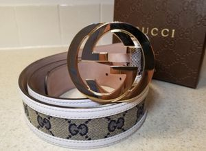 Gucci Monogram White Leather Belt Authentic for Sale in Queens, NY