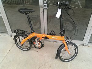 Brand new green zone fold-up bicycle 16 in 3 speed Orange for Sale in Houston, TX